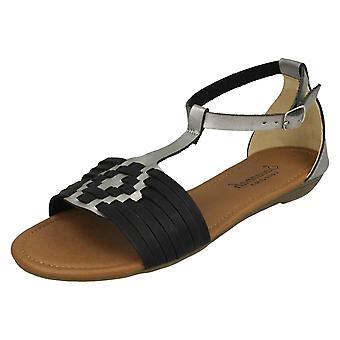Las señoras Savannah t tejer sandalias F00052 - sintético negro - Reino Unido tamaño 3 - UE tamaño 36 - tamaño de los E.E.U.U. 5