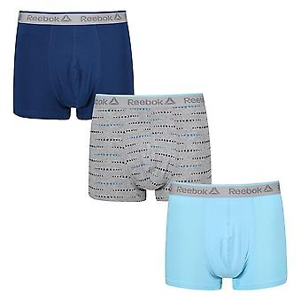 Reebok Gym Men's 3 Pack Short Boxer Trunks Blue Print Keithly