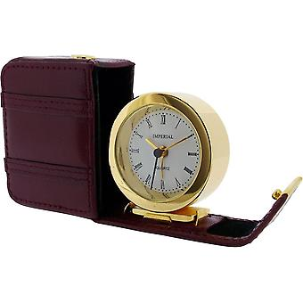 Gift Time Products Leather Case Alarm Clock - Gold/Burgundy