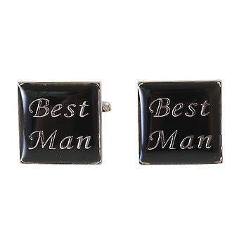 Knightsbridge Neckwear Best Man Cufflinks - Black/Silver