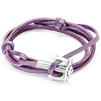 Anchor and Crew Union Silver and Leather Bracelet - Grape Purple