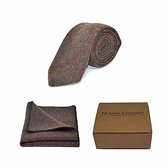 Heritage Check Earth Brown Tie & Pocket Square Set - Tweed, Plaid Country Look   Boxed