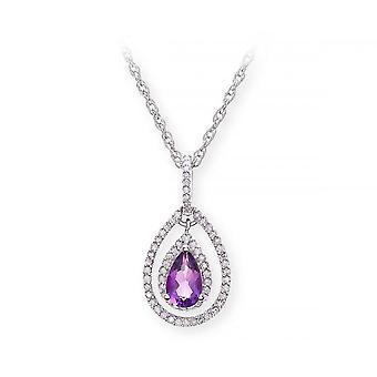 Stjärnan vigselringar Sterling Silverhalsband med ametist pärla sten hängande och diamanter
