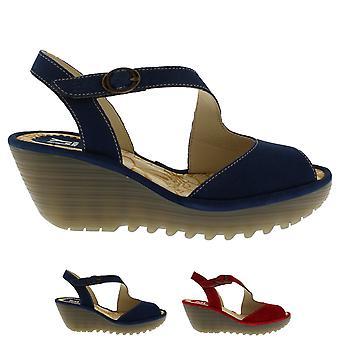 Cortar mujer Fly London Yamp verano Peep Toe hebilla sandalias de tacón de cuña