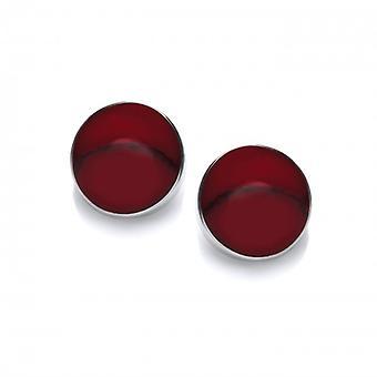Cavendish franske sterlingsølv og dannede røde Jasper knap øreringe