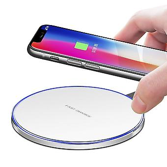 ONX3 Round White Universal Qi Enabled Slim 10W Output Wireless Power Desktop Charging Pad With Led Light For Apple iPhone Xr