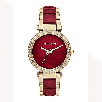 Michael Kors Watches Mk6427 Parker Gold & Deep Red Stainless Steel Ladies Watch