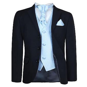 Drenge nye 5 Pc sort / blå bryllup Cravat Suit