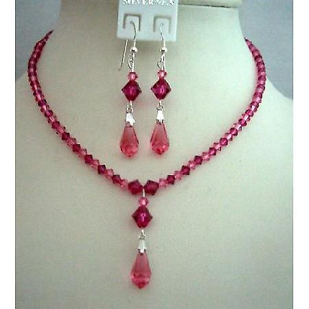 Handcrafted Custom Swarovski Rose Pink & Fuchsia Crystals Jewelry Set