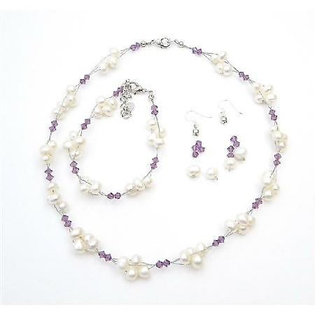 Handcrafted Austrian Crystals Amethyst Freshwater Pearls Necklace Set