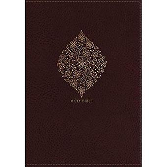 NKJV, Pokój Reference Bible, kolumny centralnej olbrzymie Print, Leathersoft, Burgundy, czerwony symbol Edition, komfort Print