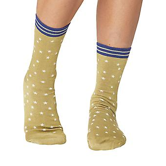 Little Stars women's soft bamboo crew socks in pea | By Thought