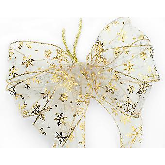 Large Three Loop Gold Snowflake Christmas Wreath or Tree Bow with Tails