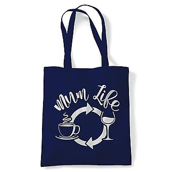 Mum Life Coffee Wine Repeat Tote| Reusable Shopping Cotton Canvas Long Handled Natural Shopper Eco-Friendly Fashion | Gym Book Bag Birthday Present Gift Him Her | Multiple Colours Available