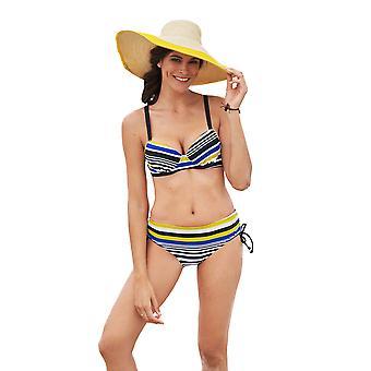 Susa 1873-225 Women's Stripe Black Striped Swimwear Beachwear Bikini Set