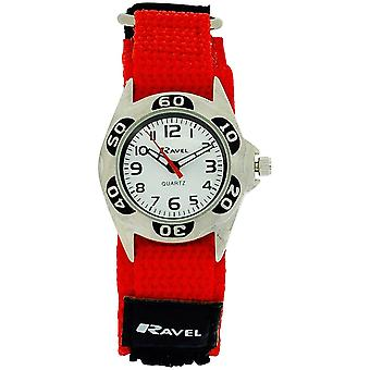 Ravel Boys Quartz White Dial Black & Red Easy Fasten Watch R1507.40