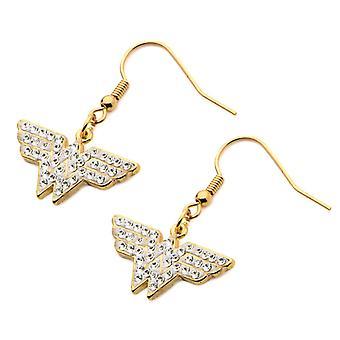 Stainless Steel Hook Gold Plated Dangling Clear CZ Wonder Woman Earrings