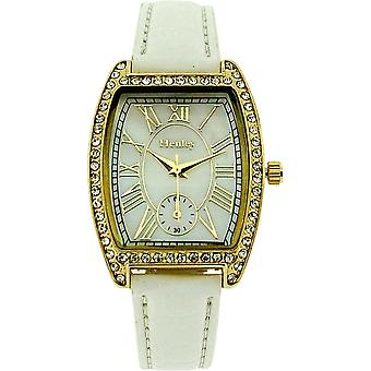 Henley Glamour Ladies Crystal Yellow Goldtone Bezel White Strap Watch H06088.4
