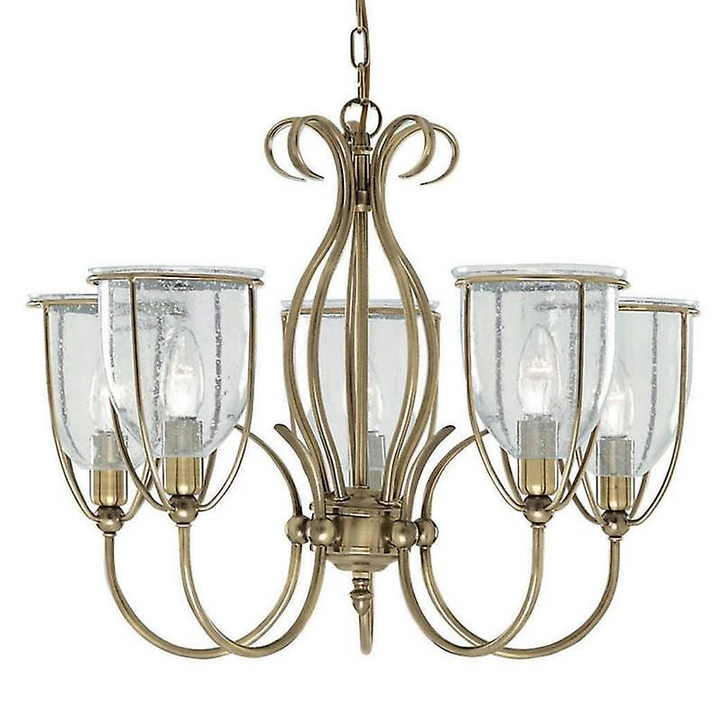 5 Light Multi Arm Ceiling Pendant Antique Brass With Seeded Glass Shades