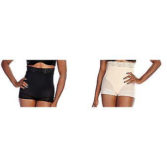 Slim 'N Lift Aire 2 Pack High Waist Lace Trim Shaper Briefs Black Beige C408806