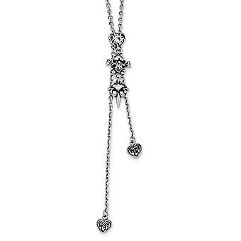 Stainless Steel Antiqued and Polished With Cubic Zirconia Adjustable Necklace