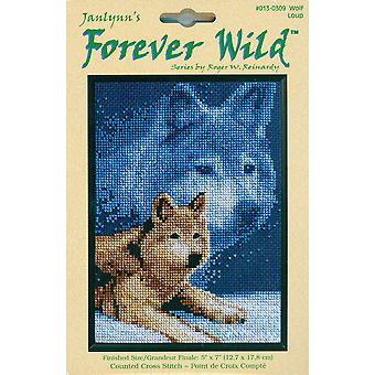 Forever Wild Wolf Mini Counted Cross Stitch Kit 5