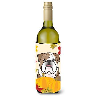 English Bulldog Thanksgiving Wine Bottle Koozie Hugger BB2025LITERK