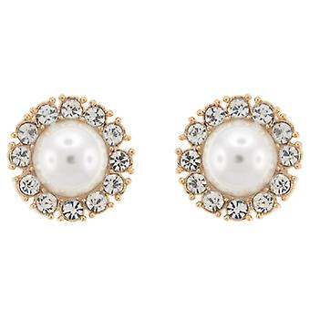 Clip On Earrings Store Large Ivory Pearl and Crystal Round Clip on Earrings