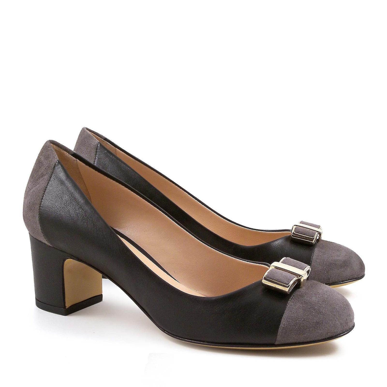 Chaussures noir talons moyen talons cuir italienne pompes à moyen pgnRrpqx