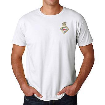 HMS Sherwood broderad Logo - officiell Royal Navy ringspunnen T Shirt