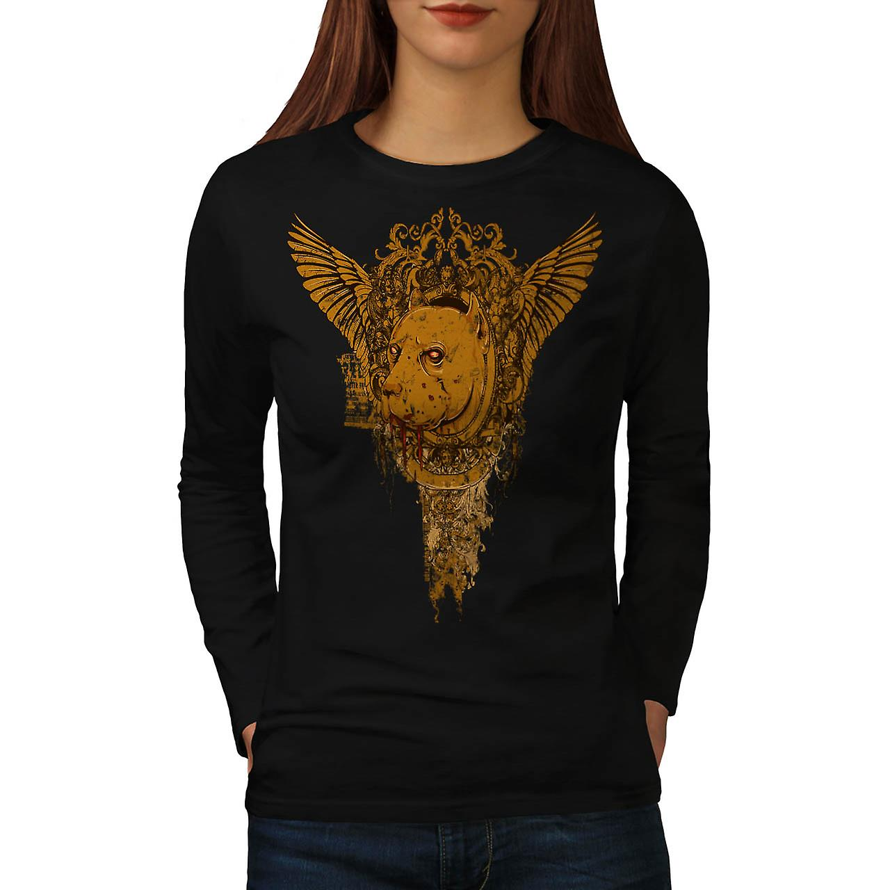 Bloed Dog Bite Fear Horror Hound Women zwart lange mouw T-shirt | Wellcoda