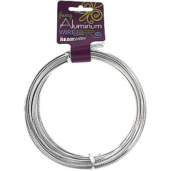 Aluminum Wire Flat Diamond Cut 1X3mm 12 Meters/Pkg (39.25')-Silver ALFC3-SI