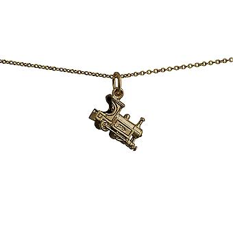 9ct Gold 15x6mm Train Pendant with a cable Chain 20 inches