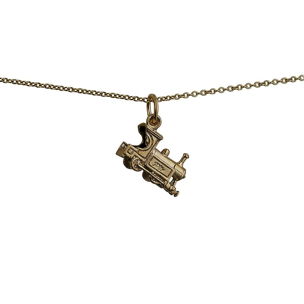 9ct Gold 15x6mm Train Pendant with a cable Chain 16 inches Only Suitable for Children