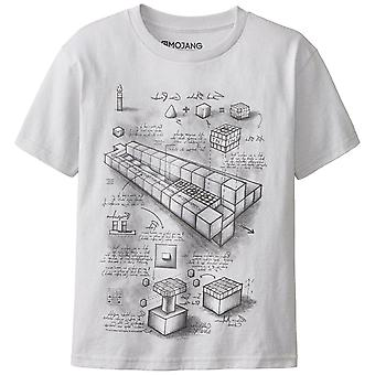 Boys Minecraft T-shirt | Mine Craft Tshirt | Official | TNT BLUEPRINT | Youth | 5-6 | GREY
