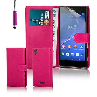 Cartera libro funda de PU de cuero para Sony Xperia T3 + stylus - color de rosa caliente