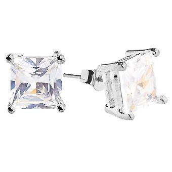 Iced out bling square cubic zirconia Stud Earrings - silver