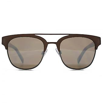 Hook LDN Faraway Stainless Steel Clubmetal Brow Bar Sunglasses In Matte Brown & Matte Gunmetal