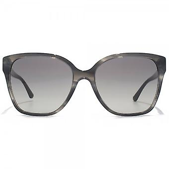Giorgio Armani Flared Square Sunglasses In Striped Grey