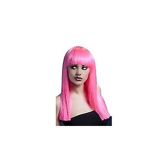 Smiffy's Alexia Fever Wig, 19inch/48cm Neon Pink