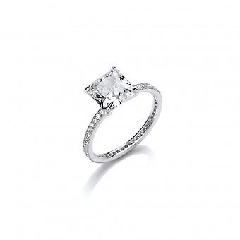 Cavendish French CZ Band with Square Solitaire Sterling Silver Ring