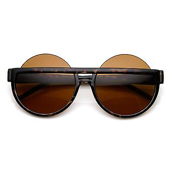 Big Mod Round Circle Half Frame Oversized Sunglasses
