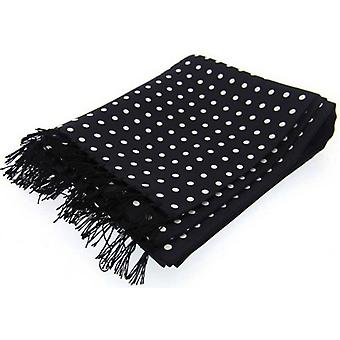 David Van Hagen Polka Dot Luxury Fashion Silk Scarf - Black/White