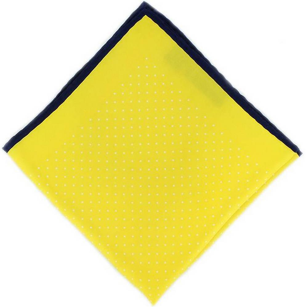 Michelsons of London Pin Dot with Border Silk Handkerchief  - Yellow/Navy