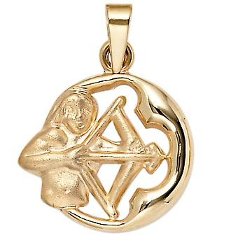 Sagittarius gold pendant star sign of Sagittarius 375 partially frosted gold yellow gold