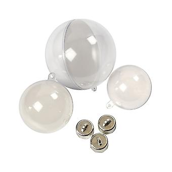 60 Assorted Two Part Fillable Plastic Christmas Baubles - 50, 60 & 80mm