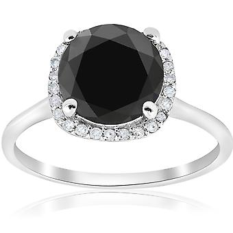 3 1/10ct Treated Black Diamond Cushion Halo Engagement Ring 14K White Gold