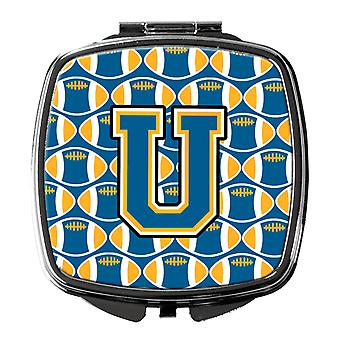 Carolines Treasures  CJ1077-USCM Letter U Football Blue and Gold Compact Mirror