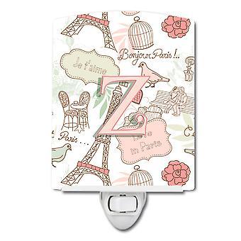 Carolines Treasures  CJ2002-ZCNL Letter Z Love in Paris Pink Ceramic Night Light