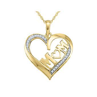 Diamond MOM Heart Pendant Necklace 10K Yellow Gold
